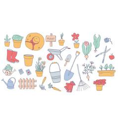 Hand drawn gardening elements vector