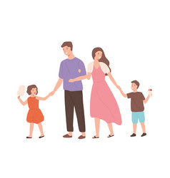 Happy cartoon family walking enjoying weekend vector