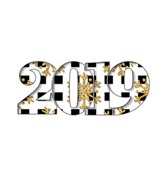 Happy new year card black white number 2019 gold vector