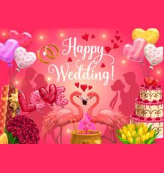 Happy wedding calligraphy heart balloons and cake vector