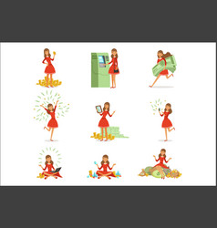 Happy young millionaire woman in a red dress vector