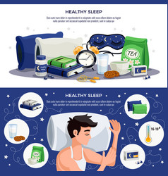 Healthy sleep horizontal banners vector