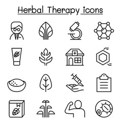 herbal therapy icon set in thin line style vector image