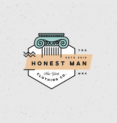Honest man clothing company label vector