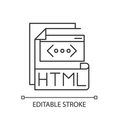 Html file pixel perfect linear icon vector