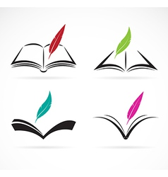 image an book and feather vector image