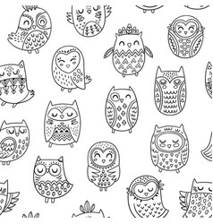 ink cartoon owls seamless pattern coloring book vector image