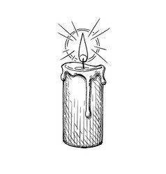 ink sketch burning candle vector image