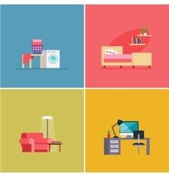 Interior Design Rooms Set vector