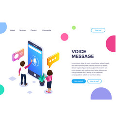Isometric voice message concept use your phone to vector