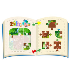 jigsaw pieces of bears in forest vector image