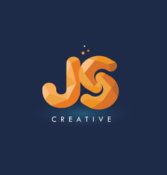 Js letter with origami triangles logo creative vector