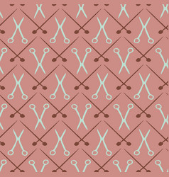 Knitting needles and scissors seamless pattern vector