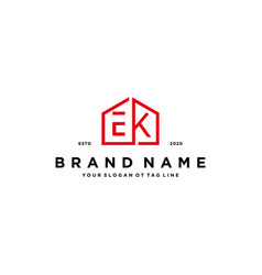 Letter ek home logo design concept vector