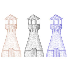 lighthouse hand drawn sketch vector image