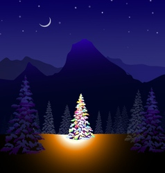 Merry Christmas and Winter landscape vector