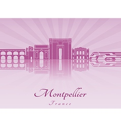 Montpellier skyline in purple radiant orchid vector image vector image