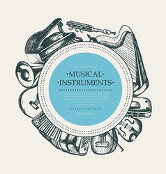 Musical instruments - hand drawn round banner vector