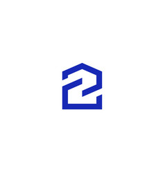 number 2 house home icon logo line outline sign vector image
