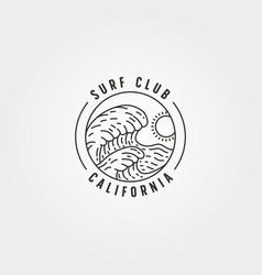 ocean wave surf line logo symbol design vector image