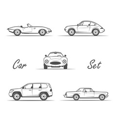 Old cars in vintage style vector