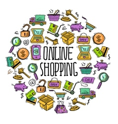 Online shopping circle vector