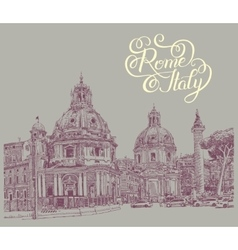 Original digital drawing of Rome Italy cityscape vector