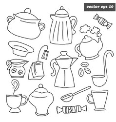 outlined kitchen dish set on white vector image