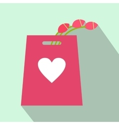 Pink tulips in the shopping bag flat icon vector image