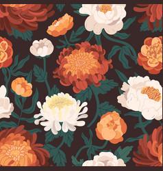 Realistic blooming peonies and chrysanthemums vector