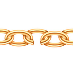 Realistic gold broken chain texture yellow color vector