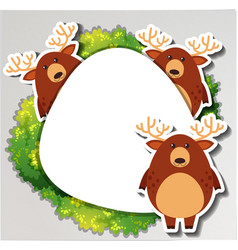 Round border with three deers vector