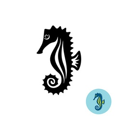 Sea horse elegance black silhouette logo with vector image