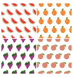 seamless pattern set with fruits Watermelon grape vector image