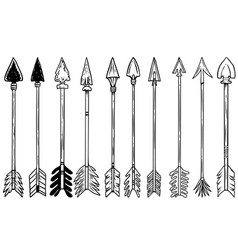 set bow arrows in engraving style design vector image