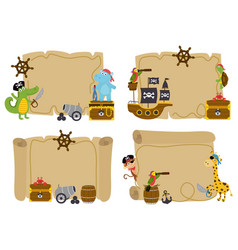 Set of isolated treasure maps with animal pirates vector