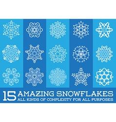 Set of Snowflakes Fractals or Mandala icons great vector image