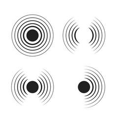 Set radar icons sonar sound waves modern flat vector