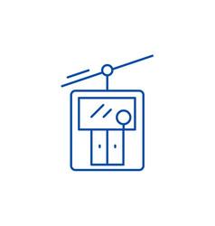 ski elevator line icon concept ski elevator flat vector image