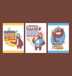 Sloth with cup of coffee set of animal cards vector