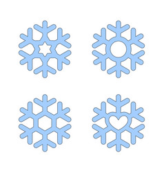 Snowflakes signs set blue snowflake icons vector