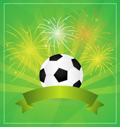 Soccer with Banner and fireworks Background vector image