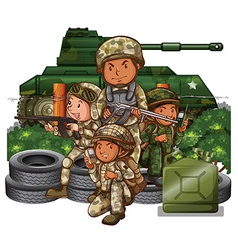 Soldiers with guns in the field vector image