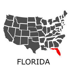 State of florida on map of usa vector
