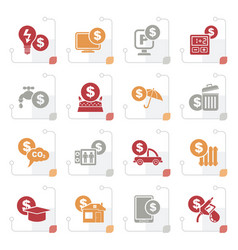 Stylized payment of bills icons vector
