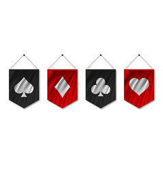 Suit deck cards on pennant flag vector