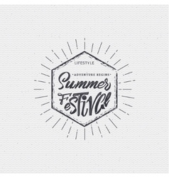 Summer festival - poster stamp badge insignia vector