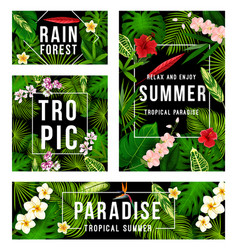 Summer tropical paradise poster with palm leaf vector