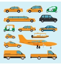 Taxi different types icons vector