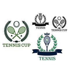 Tennis rackets and balls in sporting labels vector image